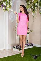 Коротенькое платье, рукав гепюра, цвета розовое, все размеры и другие цвета