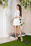 Коротенькое платье, рукав гепюра, цвета белое, все размеры и другие цвета