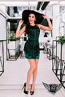 Коротенькое платье с принтом и открытыми плечами, цвета желтое, ментоловое, зеленое, персиковое, все размеры
