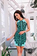 Коротенькое платье с принтом и открытыми плечами, цвета ментоловое, все размеры и другие цвета