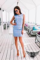 Платье с пуговицами и ремнем, цвета голубое, все размеры и другие цвета