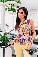 Костюм двоечка, блуза с принтом и брюки, цвета желтое, все размеры и другие цвета