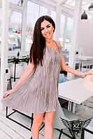 Коротенькое платье на брительках, цвета бежевое, все размеры и другие цвета