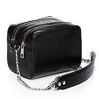 Черная женская сумочка из натуральной кожи