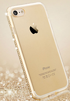 Силиконовый золотой чехол с камнями Сваровски для Iphone 7+ 7S+