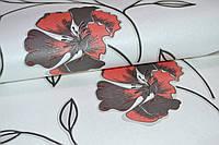 Обои, на стену, бумажные, светлые, белые, красные, Калипсо 100-05, 0,53*10м