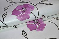 Обои, на стену, бумажные, крупные цветы, фиолетовые, светлые, белые, Калипсо 100-06, 0,53*10м