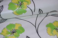 Обои, на стену, бумажные, крупные цветы, зеленые, светлые, белые, Калипсо 100-03, 0,53*10м