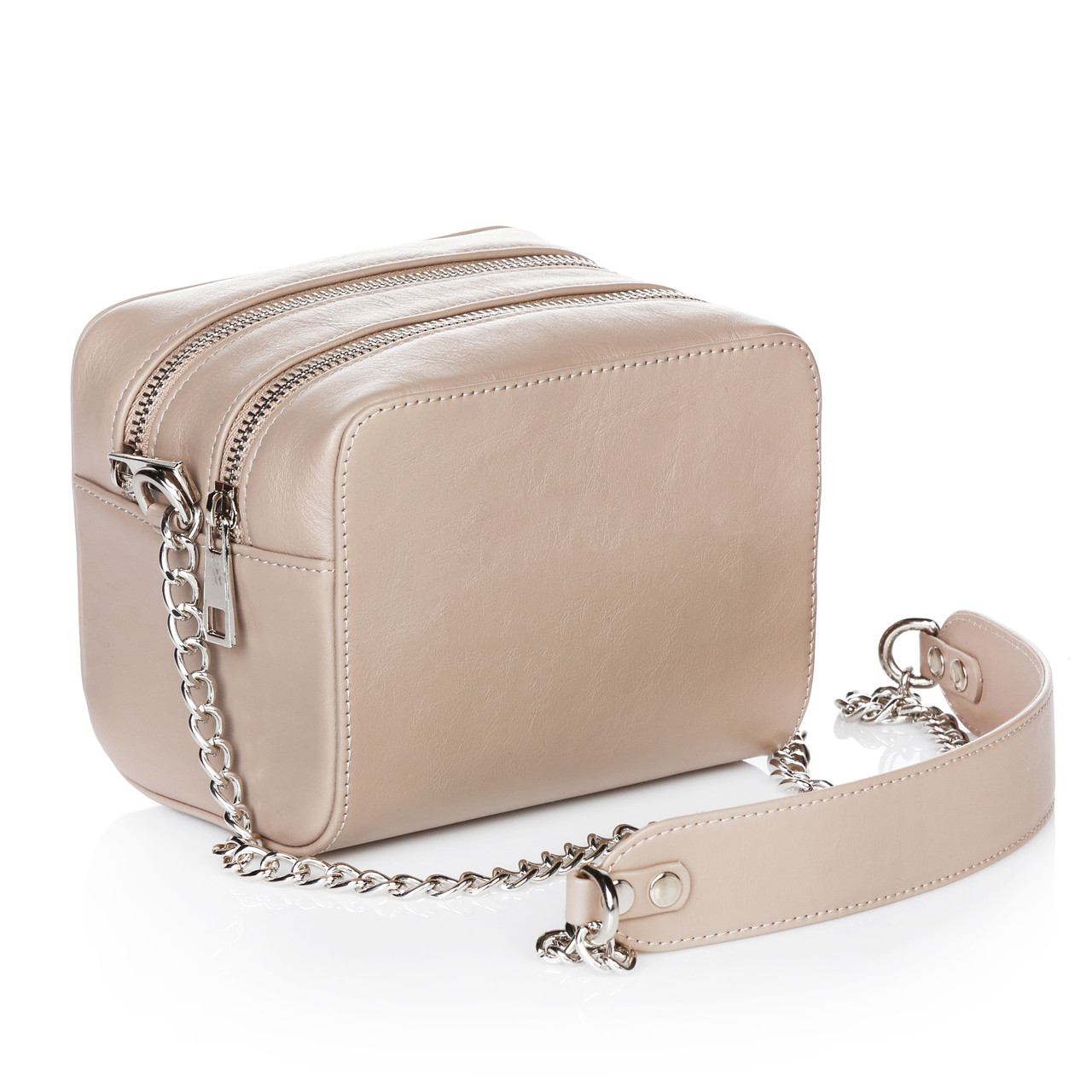 Бежевая женская сумочка из натуральной кожи