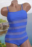 Женский закрытый купальник 7904 с прозрачными вставками
