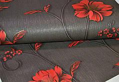 Обои, бумажные, черный, крупные цветы, красные, Деми 1260, 0,53*10м