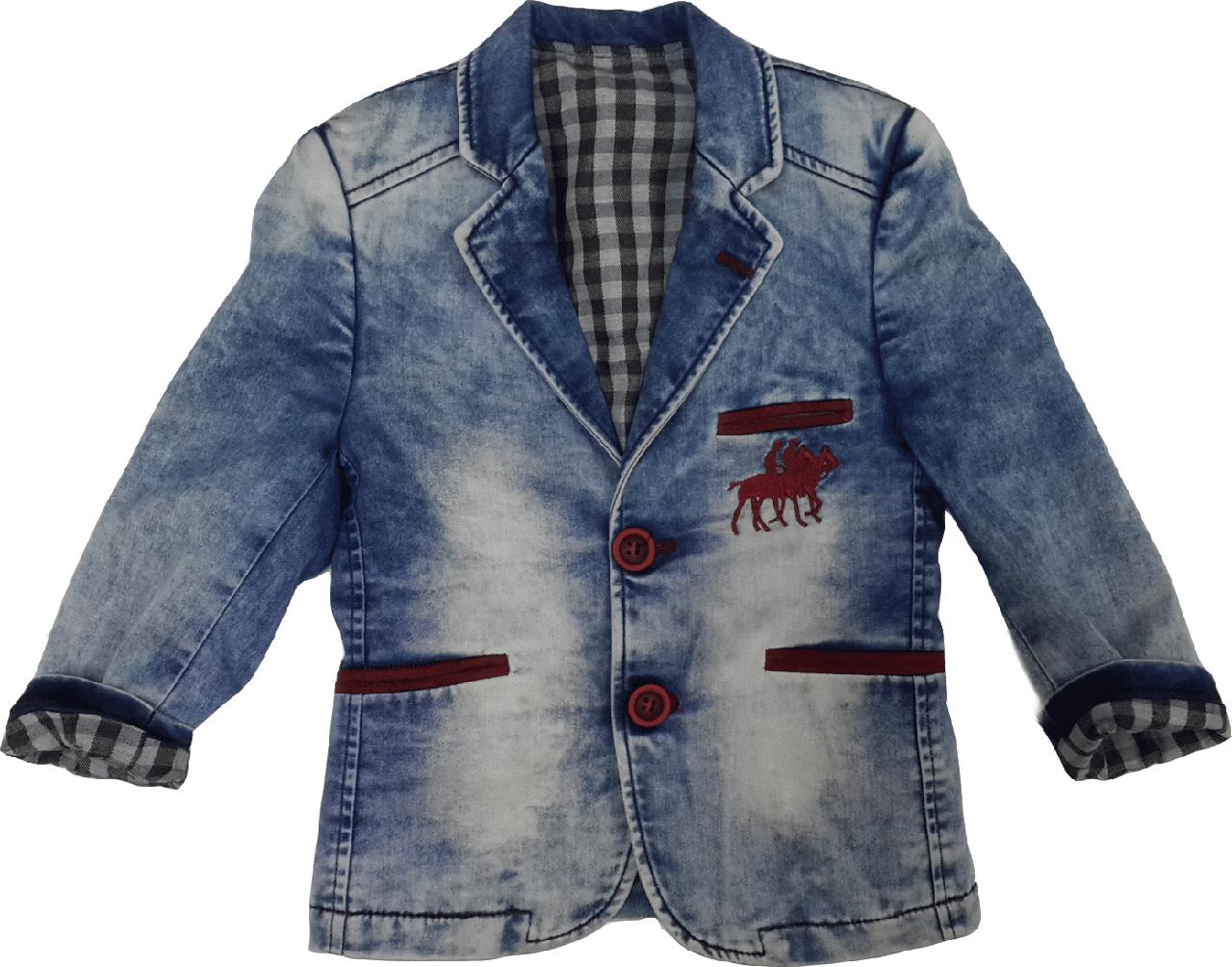 Джинсовый пиджак для мальчика ТМ BULUS размер 94-104 - Рожевий Слон - детская одежда от 0 до 15 лет в Киеве