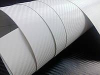 Карбоновая пленка белая 3D. Пленка под карбон для автомобиля 1м*1,27м