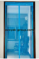 Москитная сетка дверная 210х100см на магнитах.(Зеленая,синяя).