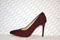 Туфли лодочки женские на шпильке бордового цвета