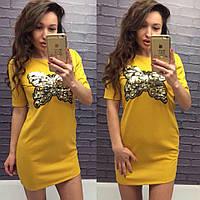 Модное короткое платье-туника с аппликацией из пайеток бабочка