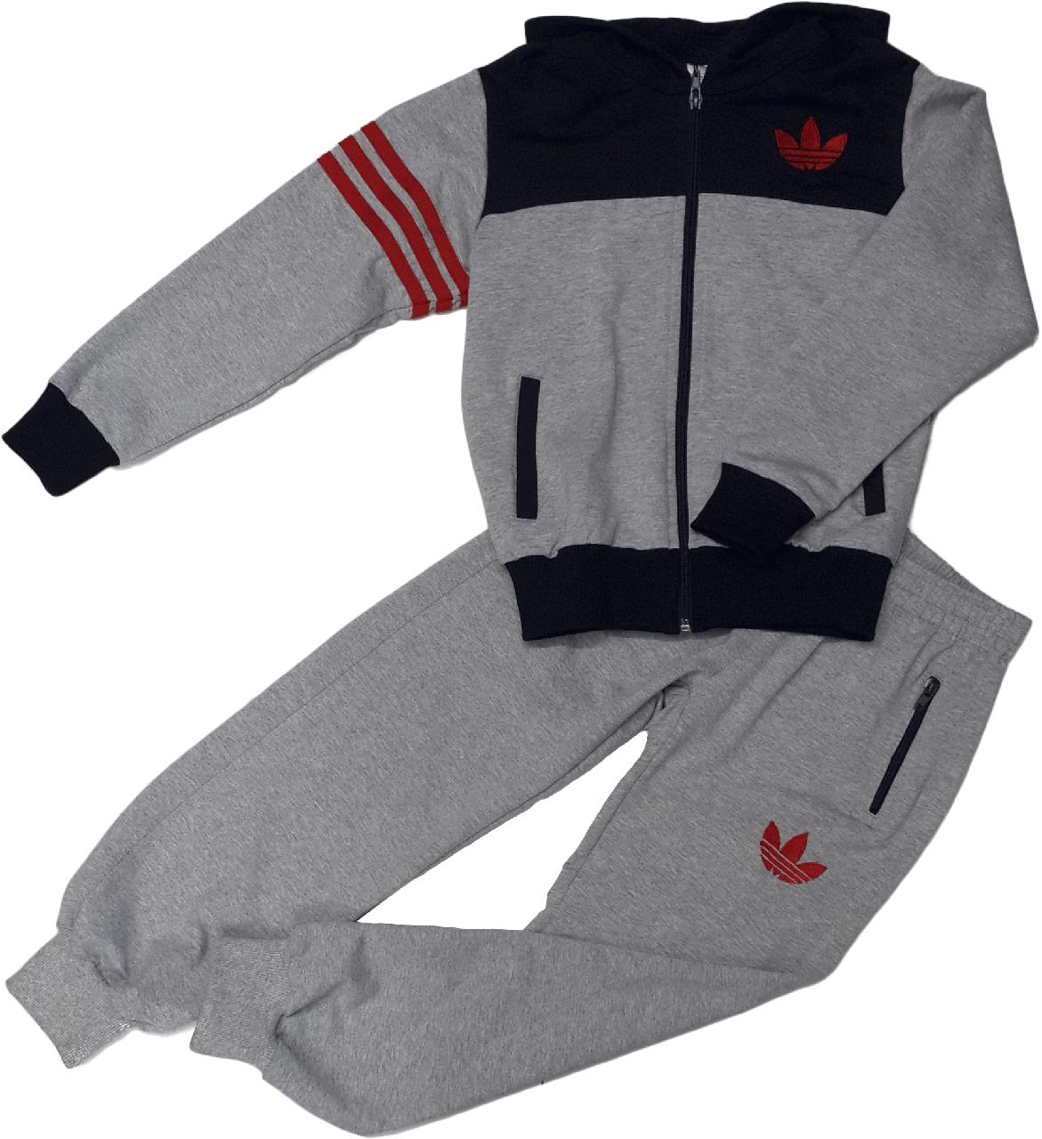 Спортивный костюм Adidas на мальчика, Индонезия, серый, размер 116-128