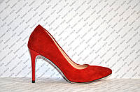 Туфли лодочки женские на шпильке красного цвета