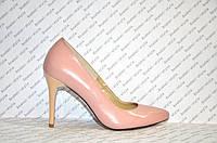 Туфли лодочки женские на шпильке натуральная кожа цвета пудры