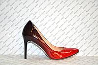 Туфли лодочки женские натуральная кожа цвета омбре красный