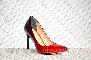 Туфли лодочки женские натуральная кожа цвета омбре красный, фото 2