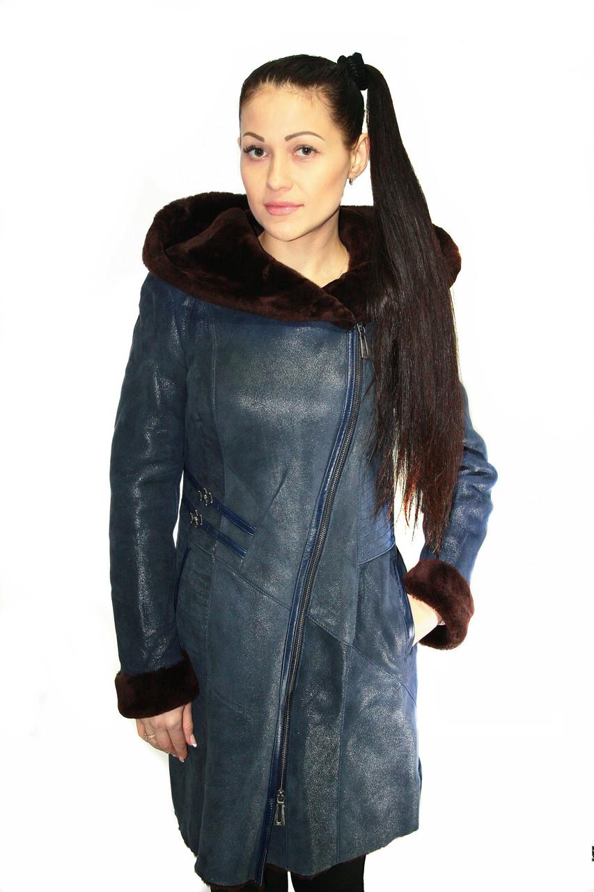 Дубленка удлиненная натуральная женская, с капюшоном (темно-синяя) /  women's fur coat 382