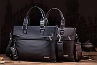 Стильная мужская сумка из PU кожи. Черная
