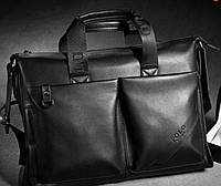 Стильная мужская сумка Polo  из PU кожи. Черная