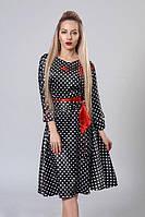"""Атласное черное платье-клеш с ярким поясом и вышивкой - """"Молли""""  код 510, фото 1"""