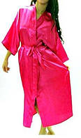 Халат атласный батальный размер, длинный халат-кимоно на запах с пояском. Украина.