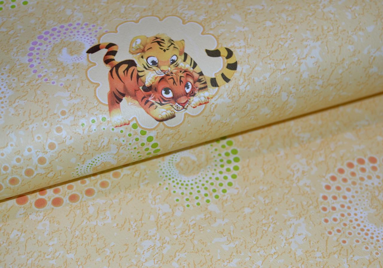 Обои на стену, детские, светлые, желтые, бумажные, Тигрята 1178, 0,53*10м, ограниченное количество