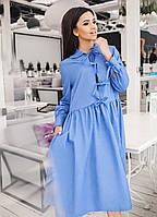 """Хлопковое платье свободного кроя на завязках """"Trinity"""" с карманами и длинным рукавом (3 цвета)"""