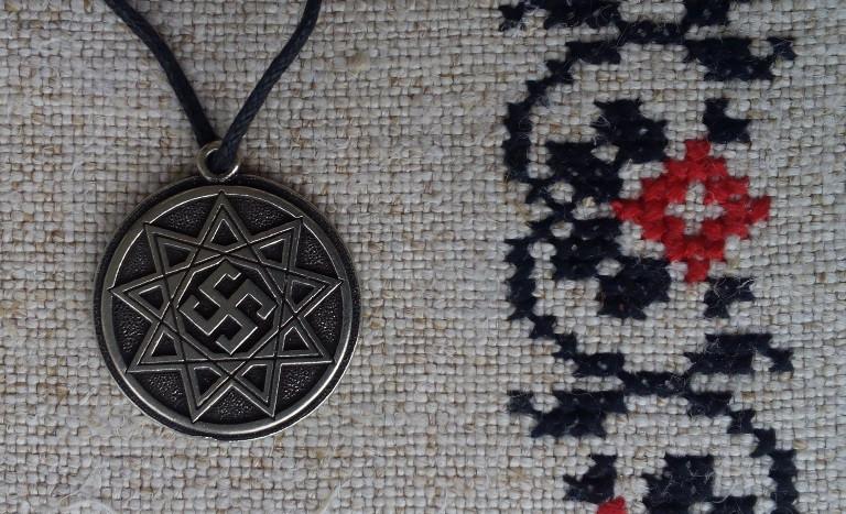 """Слов'янський оберіг """"Обережник"""", Оберіг має діагональ: 2,5 см, метал"""
