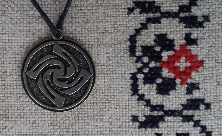 """Слов'янський оберіг """"Знич"""", Оберіг має діагональ: 2,5 см, метал"""