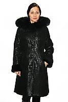 Длинная женская дубленка с капюшоном в черном цвете, фото 1