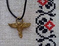 Амулет Сили , Ангел - сила Духу,  В комплекті шкіряний шнурок 45 см, бронза, метал