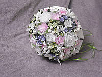 Свадебный букет-дублер для невесты белый с розовым и сиреневым