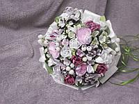 Свадебный букет-дублер для невесты белый с розовым и зеленым