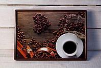 Столик на подушкее сердце выложенное из кофе