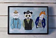 Поднос на подушке подарок хипстеру панда, лис, медведь