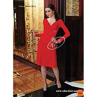 46/М Элегантное  красное платье из трикотажа с длинными рукавами