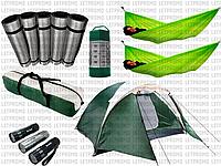 Туристическая 6-ти местная палатка Montana+6 карематов+2 гамака+LED фонарь+фонарик велосипедный
