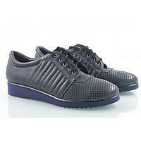 Туфли кожаные спортивные синего цвета