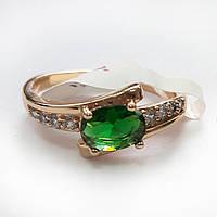 Кольцо 17р. xuping позолота 18К 234 зеленый цирконий