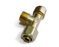 Тройник цанговый 20*1/2 с наружной резьбой для металлопластиковой трубы