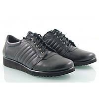Туфли кожаные спортивные на шнуровке черного цвета