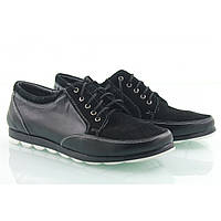 Туфли кожаные спортивные в комбинации черной кожи и черного замша