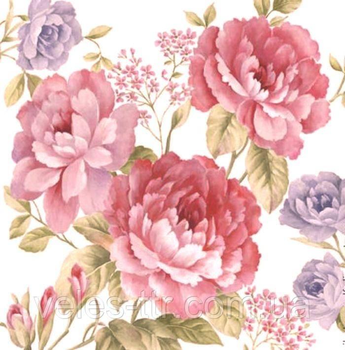 """Салфетки для декупажа """"Джульетта""""(садовые цветы)"""" 33*33 см №307"""