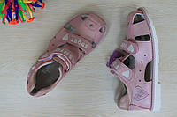 Розовые босоножки для девочки с закрытым носком ортопеды тм Томм р.34,35,37