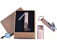 Спиральная USB зажигалка-брелок Jobon №4826-2 с кусачками, необходимый гаджет каждому курильщику